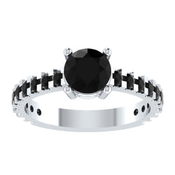 EternalDia Round 4.2 Ct Black D/VVS1 Diamond 14k Finish Sterling Silver Solitaire Band Ring - EternalDia