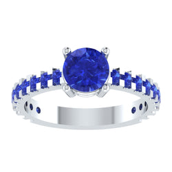 EternalDia Round 4.2 Ct Blue D/VVS1 Diamond 14k Finish Sterling Silver Solitaire Band Ring - EternalDia