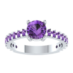 EternalDia Round 4.2ct Purple D/VVS1 Diamond 14k Finish Sterling Silver Solitaire Band Ring - EternalDia