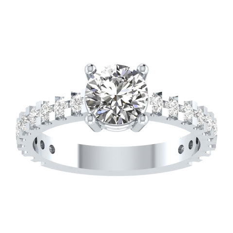 EternalDia Round 4.2 Ct White D/VVS1 Diamond 14k Finish Sterling Silver Solitaire Band Ring - EternalDia