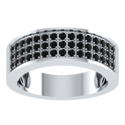EternalDia Round Shape 1.5 Ct D/VVS1 Diamond Three Rows Wedding Band Ring In 925 Sterling Silver - EternalDia