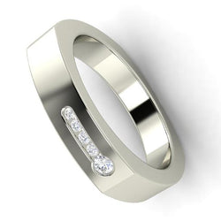 EternalDia Round Shape 0.25 Ct D/VVS1 Diamond Wedding Band Ring In 925 Sterling Silver - EternalDia