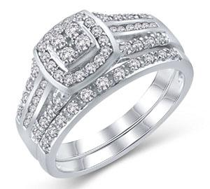 EternalDia 1/2 Ct Diamond Cushion-Style Three Row Bridal Set in 925 Sterling Silver (IJ/I3) - EternalDia