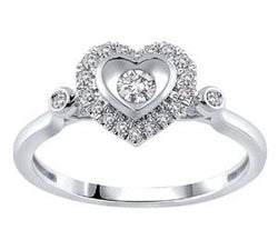 EternalDia 1/5 Cttw Round Diamond Heart Shape Promise Ring In 10K White Gold (IJ/I2) - EternalDia