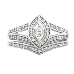 EternalDia 1/2 Carat T.W. Diamond Sterling Silver Bridal Ring - EternalDia