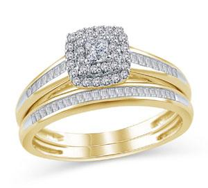 EternalDia 1/2 Ct Princess-Cut Diamond Double Halo Cushion Shape Bridal Ring in 10K Gold - EternalDia