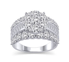 EternalDia 3 Cttw Round Shape Three Rows Composite Diamond Engagement Ring in 14K White Gold (HI/I2) - EternalDia