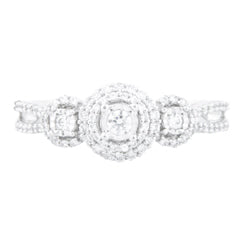 EternalDia 3/8 Carat T.W. Diamond 10kt White Gold Three Stone Engagement Ring - EternalDia