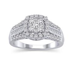 EternalDia 1 Cttw Three Rows Composite Diamond Cushion Shaped Halo Engagement Ring in 14K White Gold (HI/I2) - EternalDia