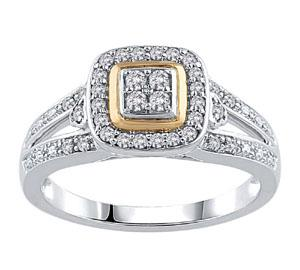 EternalDia Round Shape 1/4 Ct Quad Diamond Cushio Frame Promise Ring in 10K Two-Tone Gold - EternalDia