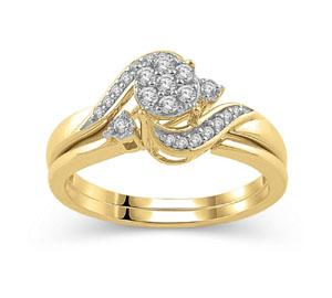 EternalDia 1/4 Ct composite Diamond Wrap Bypass Bridal Ring Set in 10K Yellow Gold - EternalDia