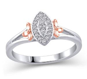 EternalDia 1/8 Ct Diamond Marquise Shape Promise Ring in Sterling Silver - EternalDia