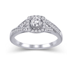 EternalDia 14K White Gold Cushion Square Frame 1/2 Cttw Diamond Halo Split Shank Engagement Ring (HI/I2) - EternalDia