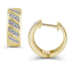 EternalDia 1/8 cttw Diamond Multi-Row Hinged Hoop Earrings in 10K Gold (IJ/I2-I3) - EternalDia