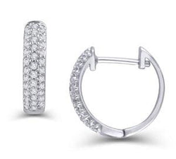 EternalDia 1/3 CT. T.W. Pave Set Three Row Diamond Hoop Huggies Earrings in 10K White Gold - EternalDia