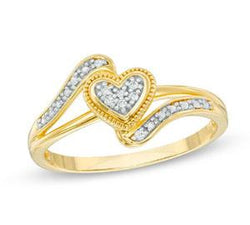 EternalDia 10K Yellow Gold Diamond Accent Vintage Heart Promise Ring (IJ/I2-I3) - EternalDia