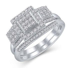 EternalDia 1/2Ct Diamond Square 3-Stone Engagement Bridal Set in 925 Sterling Silver - EternalDia