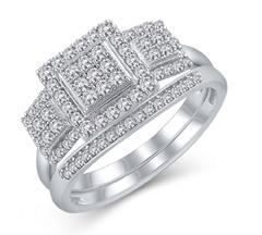 EternalDia 1/2 Cttw Diamond Square 3-Stone Composite Engagement Bridal Set in 925 Sterling Silver (IJ/I3) - EternalDia
