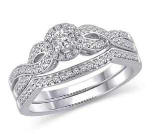 EternalDia 14K White Gold Round Shape 3/8 Ct Diamond Frame Twist Engagement Bridal Ring Set - EternalDia