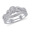EternalDia 14K White Gold Round Shape 3/8 Cttw Diamond Frame Twist Engagement Bridal Ring Set (HI/I2) - EternalDia