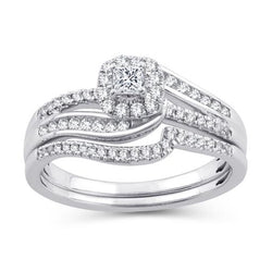 EternalDia 1/2 CT. T.W. Princess-Cut Diamond Bypass Halo Bridal Set 10K White Gold (IJ/I2-I3) - EternalDia