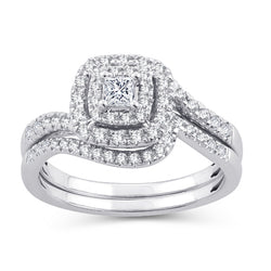 EternalDia Princess Cut 1/2 Cttw Diamond Cushion Frame Halo Curved Bridal Set In 10kt White Gold (IJ/I2I3) - EternalDia