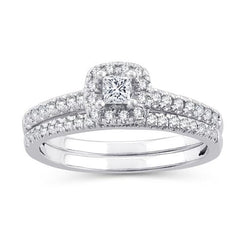 EternalDia 1/2 CT. T.W. Princess-Cut Diamond Halo Framed Bridal Set in 10K White Gold (IJ/I2-I3) - EternalDia