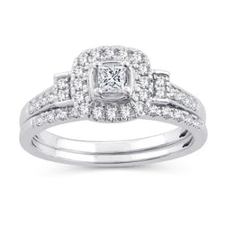 EternalDia 1/2 Cttw Diamond Cushion Frame Halo Bridal Set Ring In 10kt White Gold (IJ/I2I3) - EternalDia