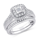 EternalDia 10K White Gold Princess Cut Diamond Halo Bridal Set Ring (0.50cttw,I2-I3/IJ) - EternalDia
