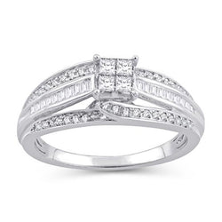 EternalDia 1/2 Cttw Princess & Bagutte Shape Three Row Diamond Engagement Rings In 10kt White Gold (IJ/I2I3) - EternalDia