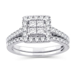 EternalDia 1 Cttw Diamond Princess-Cut Square Frame Halo Bridal Set In 10kt White Gold (IJ/I2I3) - EternalDia