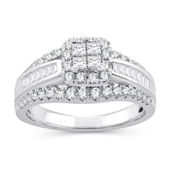 EternalDia 1 Cttw Princess & Bagutte Shape Three Row Diamond Engagement Ring In 10kt White Gold (IJ/I2I3) - EternalDia
