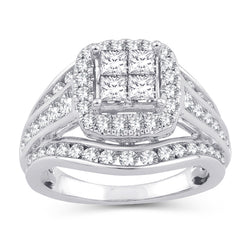 EternalDia 2.00 Ct.Wt. Princess Invisible Quad Square Frame Halo Diamond Ring in 10K White Gold(IJ/I2-I3) - EternalDia