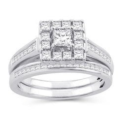 EternalDia 1.5 Cttw Princess Cut Diamond Sqaure Frame Halo Bridal Set In 10kt White Gold (IJ/I2I3) - EternalDia