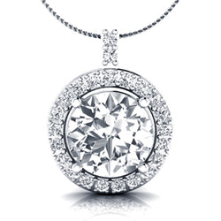 EternalDia 925 Sterling Silver Cubic Zirconia Round Diamond Halo Pendant Necklace 18'' - EternalDia