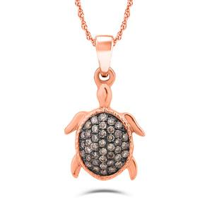 "EternalDia 10k Rose Gold 1/6ct champagne Diamond Charm Tortoise Fashion Pendant Necklace (IJ, I2-I3) 18"" - EternalDia"