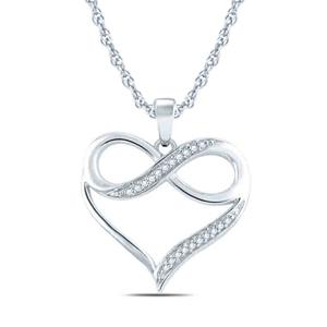 "EternalDia 1/20 cttw Diamond Accent InfInity Heart Pendant Necklace in Sterling Silver. (IJ, I2-I3) 18"" - EternalDia"