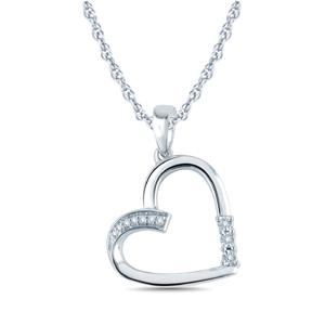 "EternalDia 1/20 Ctw 3-Stone Heart Diamond Pendant Necklace Miracle Plate in 925 Sterling Silver (IJ, I2-I3)18"" - EternalDia"