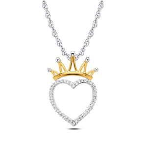 EternalDia 1/6 cttw Round Diamond Heart with Crown Pendant Necklace in 10k White Gold. (IJ, I2/I3) 18'' - EternalDia