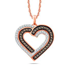 EternalDia Champagne & White Diamond Double Heart Pendant Necklace - EternalDia