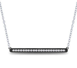 EternalDia 925 Silver Black Rhodium Round Diamond Bar Necklace (0.25ct, IJ/I2I3) - EternalDia