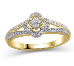 EternalDia 10K Yellow Gold Diamond Accent Clover Shape Split Shank Ring (IJ/I2I3) - EternalDia