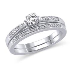EternalDia 1/3 Cttw Diamond Vintage-Style Bridal Rings Set in 14K White Gold (HI/I2) - EternalDia