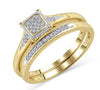 EternalDia 10K Yellow Gold Diamond Square Shaped Cluster Engagement Ring Bridal Set (0.10ct, IJ/I2I3) - EternalDia