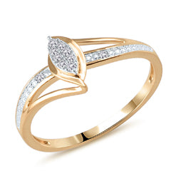 EternalDia Diamond Accent Split Shank Marquise Shaped Cluster Promise Ring in 10K Yellow Gold (IJ/I2-I3) - EternalDia