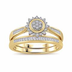 EternalDia 1/3 Cttw Diamond Sunburst-Style Engagement Bridal Set in 10K Yellow Gold (IJ/I3) - EternalDia