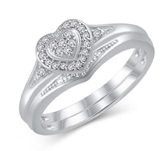 EternalDia 925 Sterling Silver 1/10 Cttw Diamond Heart Frame Halo Engagement Bridal Ring Set (IJ/I2-I3) - EternalDia