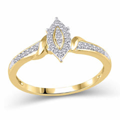 EternalDia 10K Yellow Gold Diamond Marquise Frame Promise Ring (0.10ct, IJ/I2I3) - EternalDia