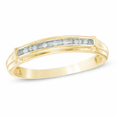 EternalDia 10K Yellow Gold Diamond Accent Half Eternity Wedding Band Ring (IJ/I2I3) - EternalDia