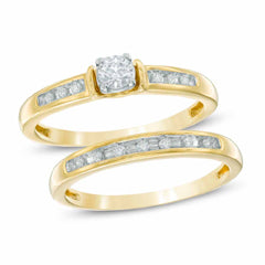 EternalDia 10k Yellow Gold Diamond Bridal Set Ring (0.25ct, IJ/I2I3) - EternalDia